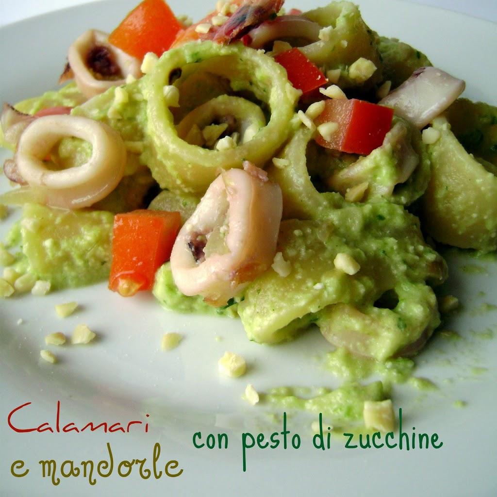 Calamari(2) al pesto di zucchine e mandorle