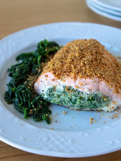 Salmone ripieno spinaci e ricotta